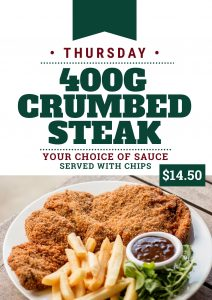Thursday Crumbed Steak Special